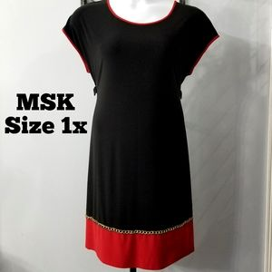 MSK Dress Black & Red Size 1x Gold Chain
